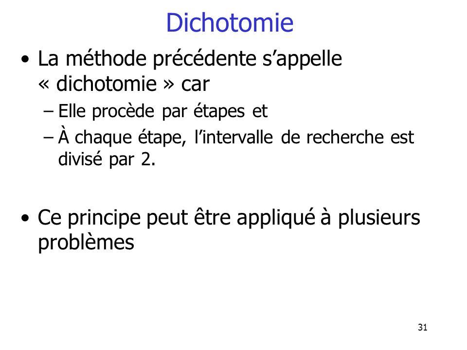 Dichotomie La méthode précédente s'appelle « dichotomie » car
