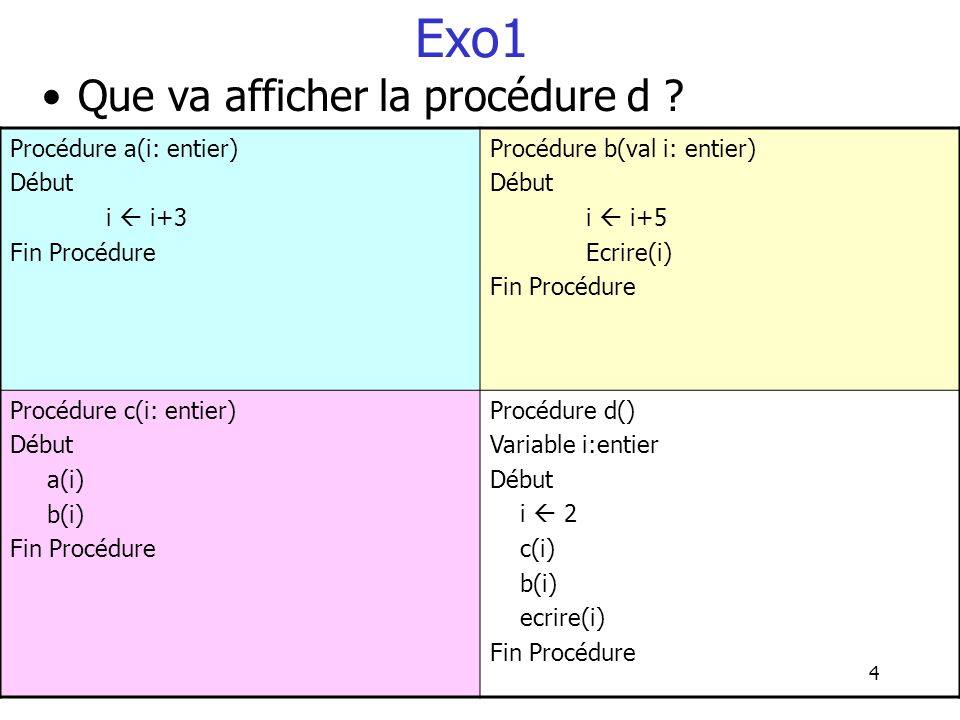 Exo1 Que va afficher la procédure d Procédure a(i: entier) Début
