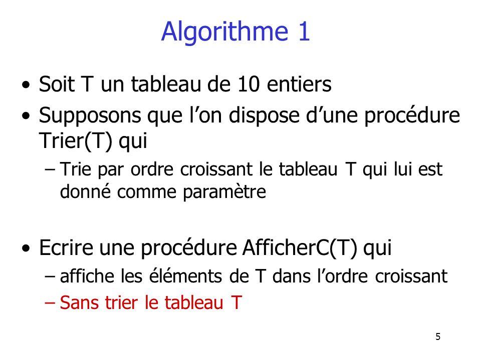 Algorithme 1 Soit T un tableau de 10 entiers