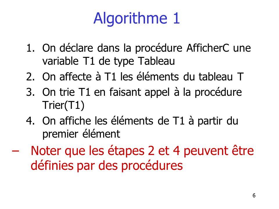 Algorithme 1 On déclare dans la procédure AfficherC une variable T1 de type Tableau. On affecte à T1 les éléments du tableau T.
