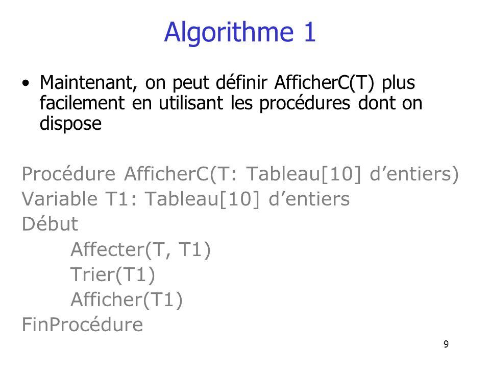 Algorithme 1 Maintenant, on peut définir AfficherC(T) plus facilement en utilisant les procédures dont on dispose.