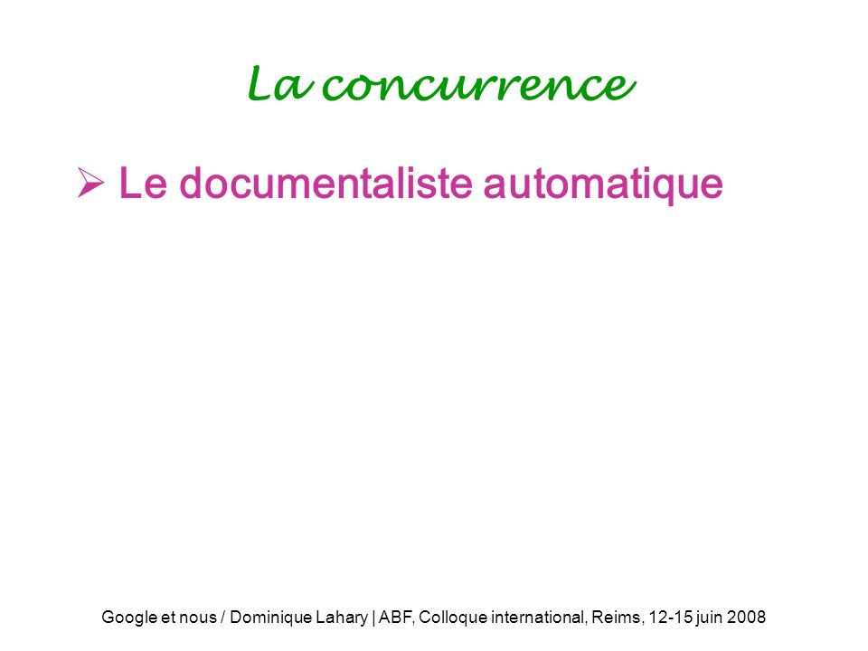 Le documentaliste automatique