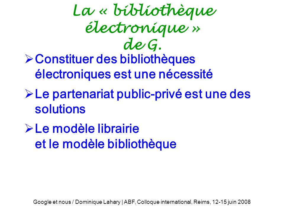La « bibliothèque électronique » de G.