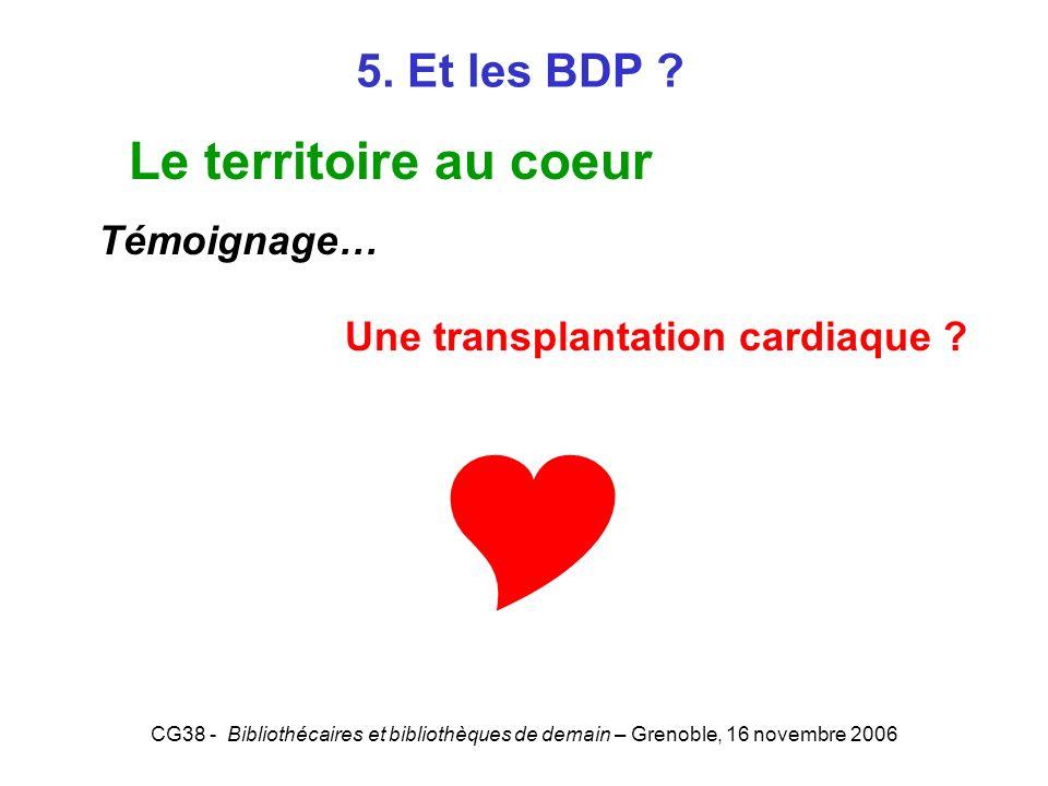  Le territoire au coeur 5. Et les BDP Témoignage…