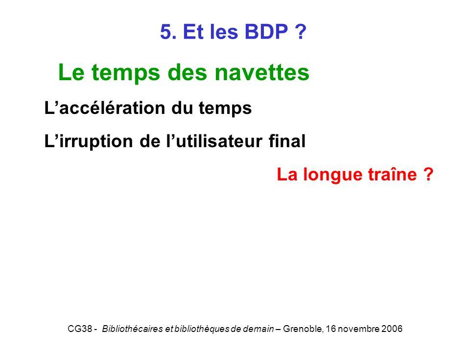 Le temps des navettes 5. Et les BDP L'accélération du temps