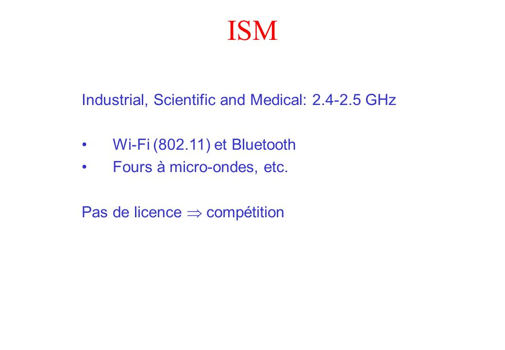 ISM Industrial, Scientific and Medical: 2.4-2.5 GHz
