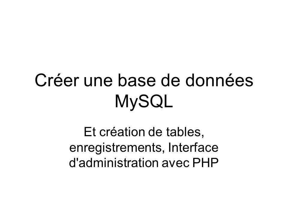 Créer une base de données MySQL