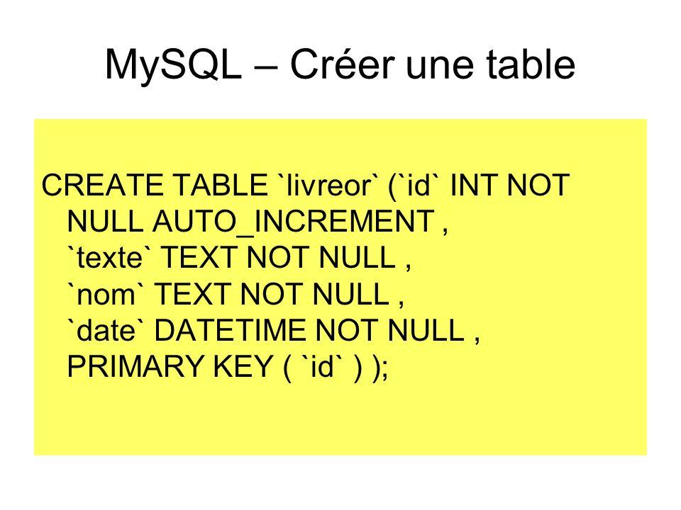 MySQL – Créer une table