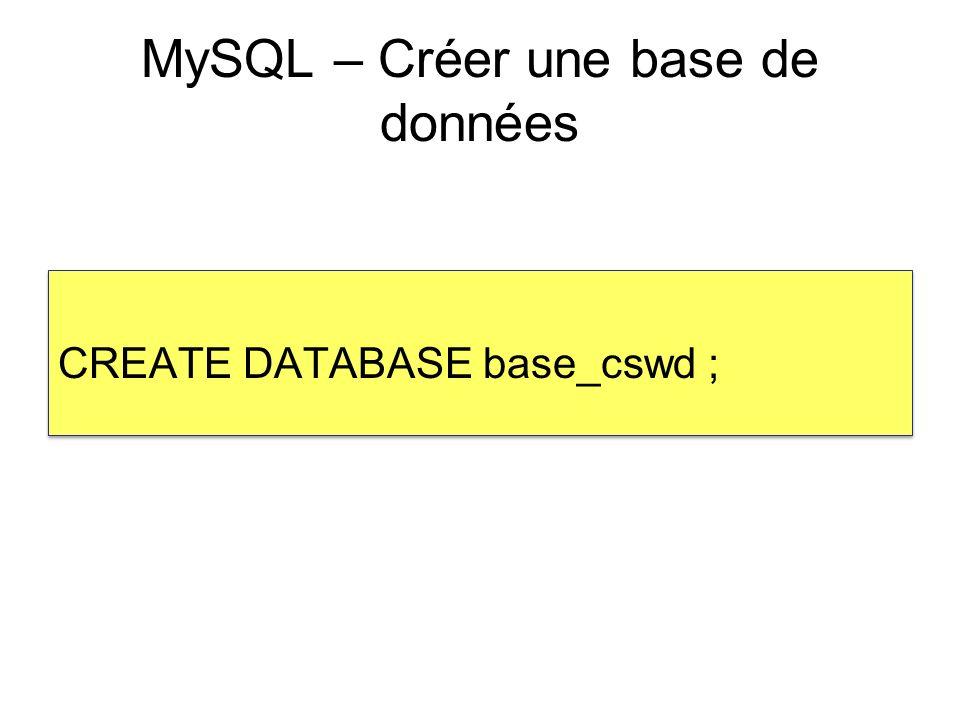 MySQL – Créer une base de données