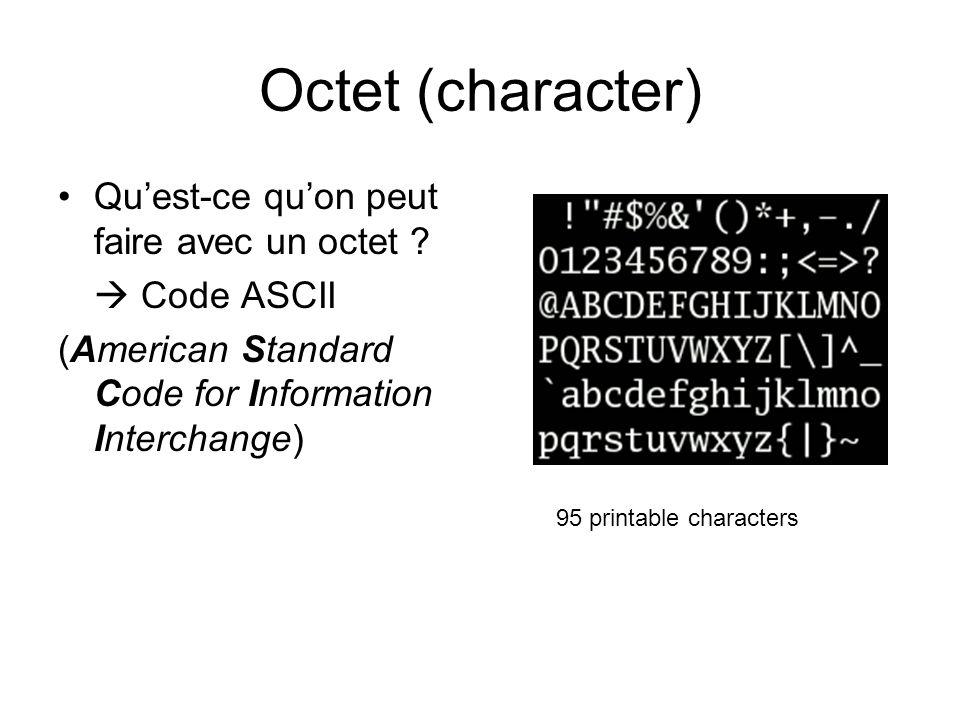 Octet (character) Qu'est-ce qu'on peut faire avec un octet