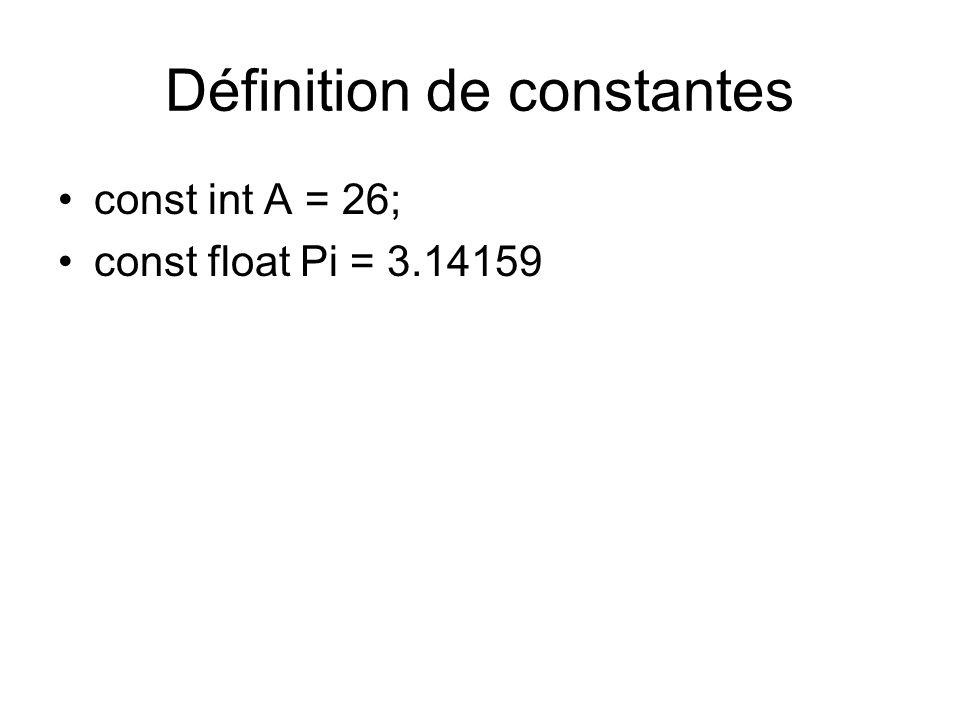 Définition de constantes