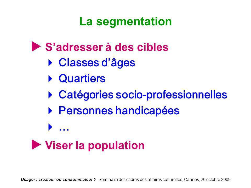 La segmentation  S'adresser à des cibles  Viser la population