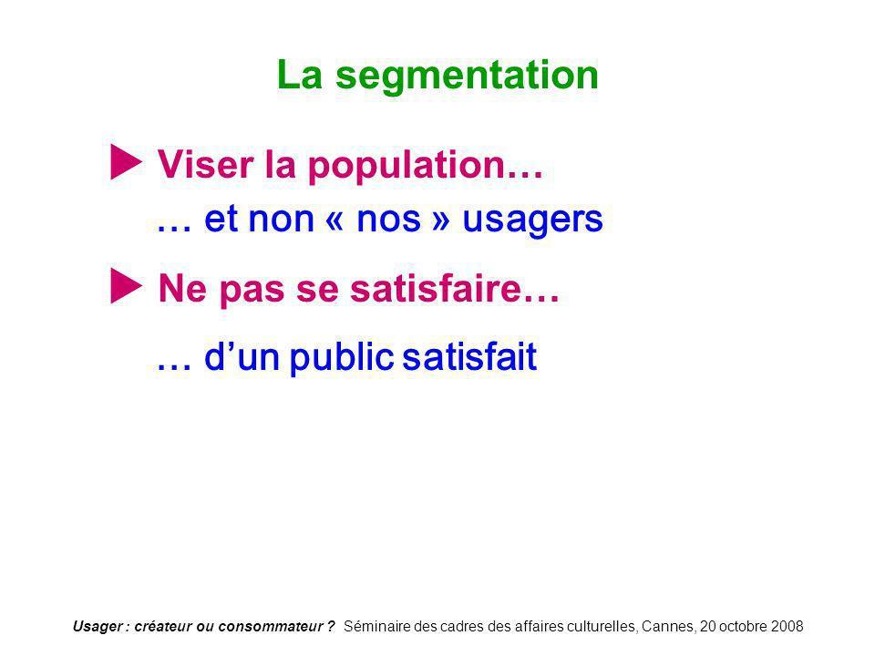 La segmentation  Viser la population…  Ne pas se satisfaire…