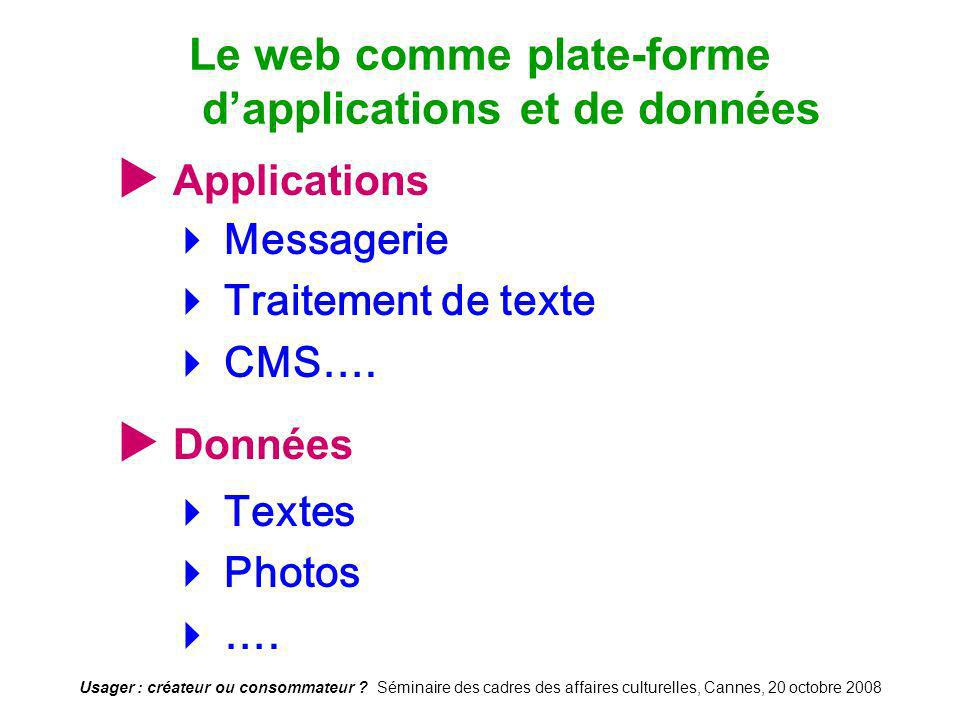 Le web comme plate-forme d'applications et de données