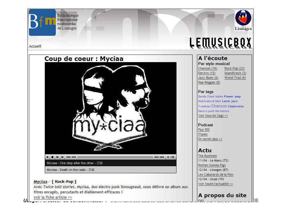 Limoges-imusic Usager : créateur ou consommateur .
