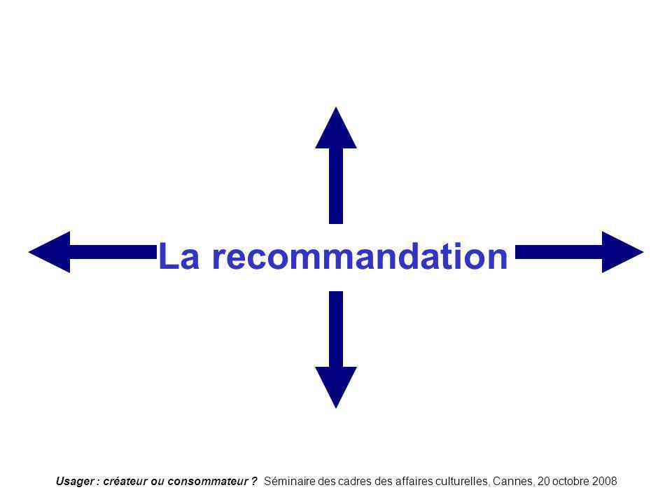 La recommandation Usager : créateur ou consommateur .