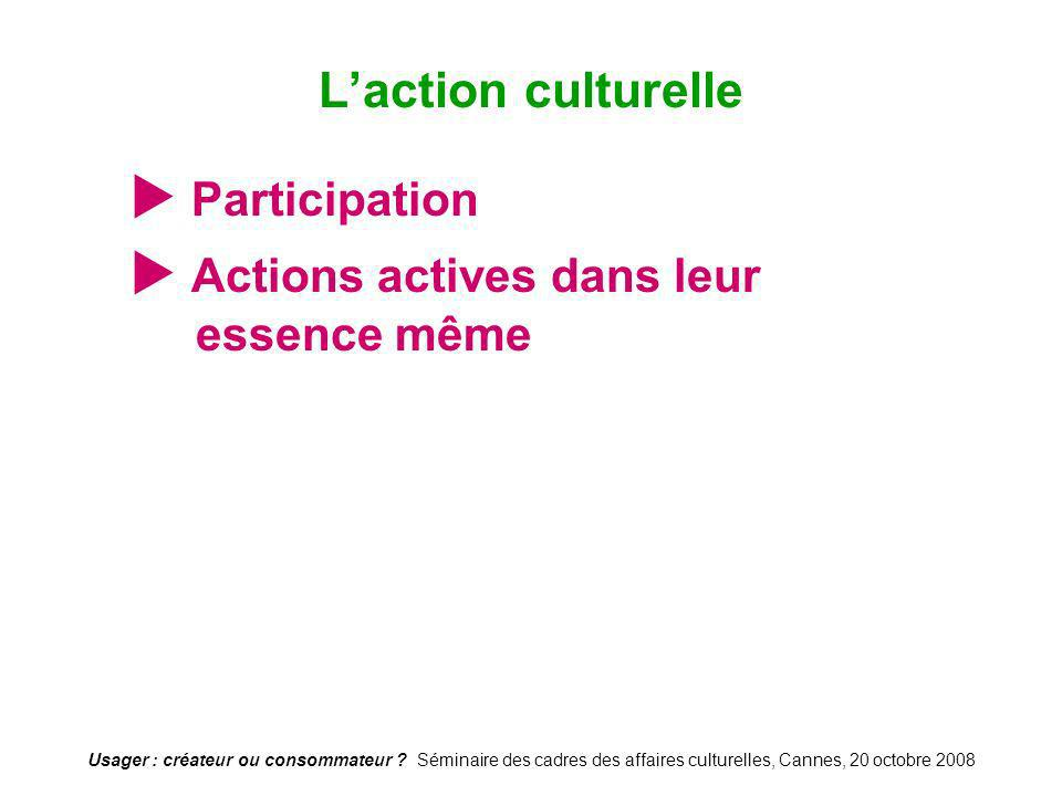L'action culturelle  Participation