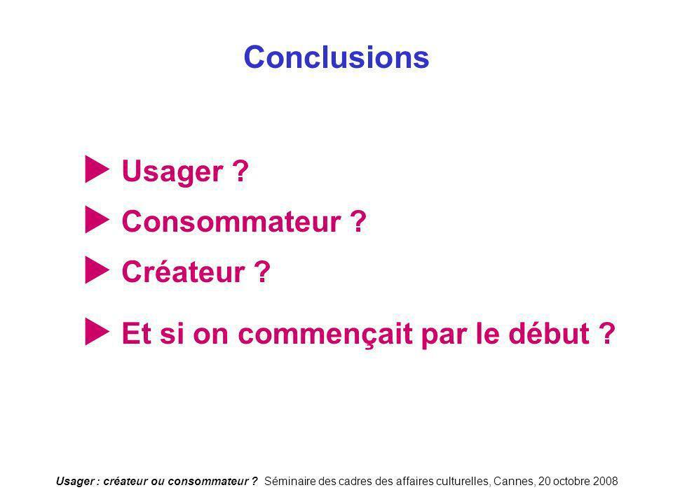 Conclusions  Usager  Consommateur  Créateur