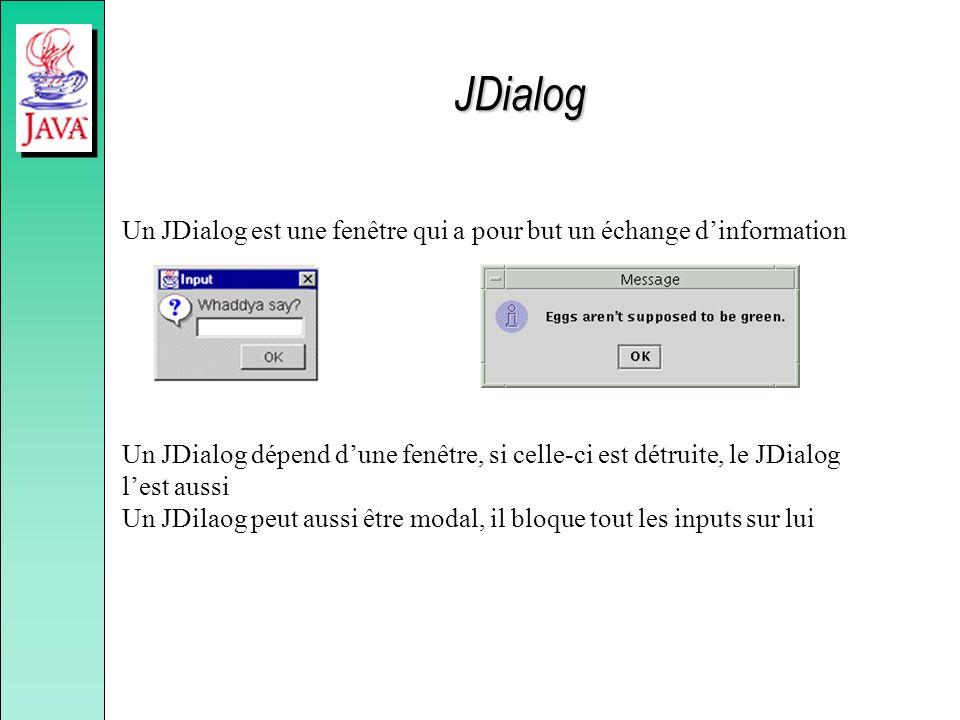 JDialog Un JDialog est une fenêtre qui a pour but un échange d'information.