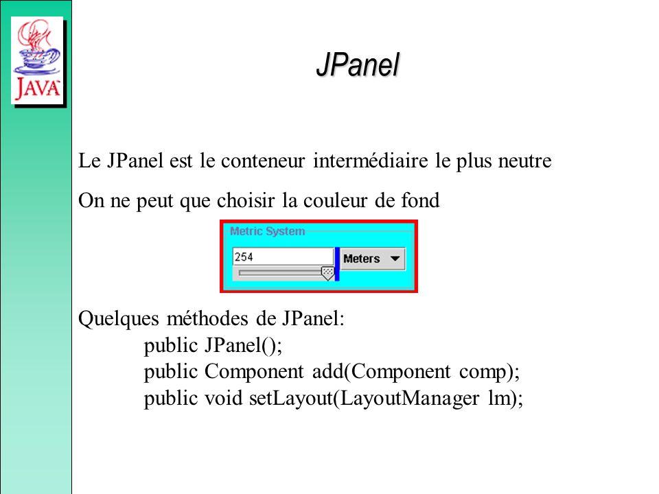 JPanel Le JPanel est le conteneur intermédiaire le plus neutre