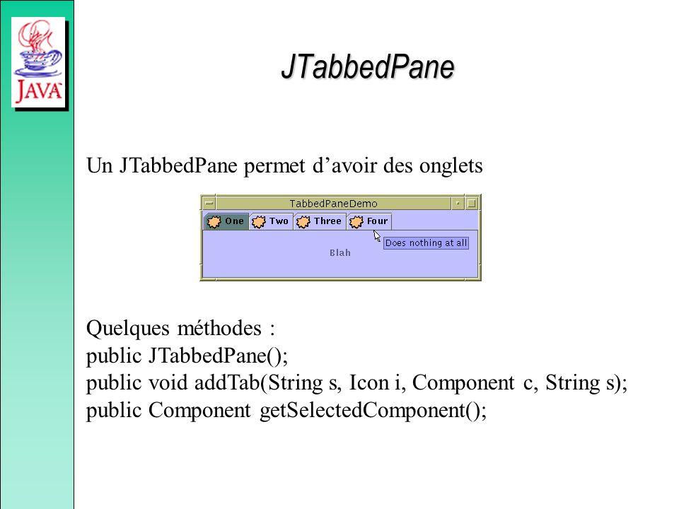JTabbedPane Un JTabbedPane permet d'avoir des onglets