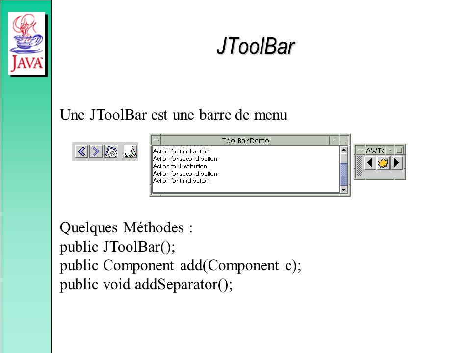 JToolBar Une JToolBar est une barre de menu