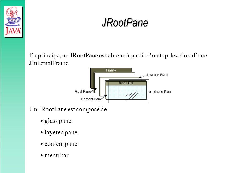 JRootPane En principe, un JRootPane est obtenu à partir d'un top-level ou d'une JInternalFrame. Un JRootPane est composé de.