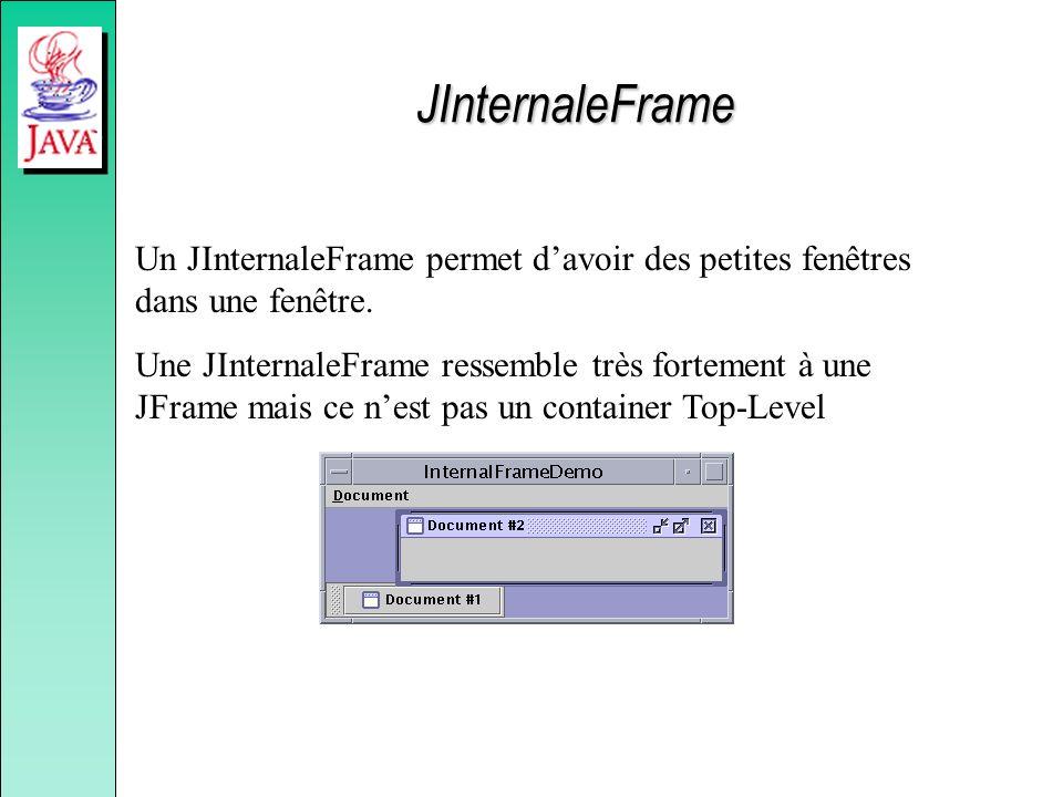 JInternaleFrame Un JInternaleFrame permet d'avoir des petites fenêtres dans une fenêtre.
