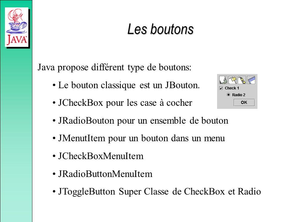 Les boutons Java propose différent type de boutons: