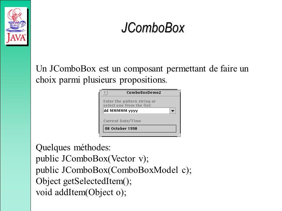 JComboBox Un JComboBox est un composant permettant de faire un choix parmi plusieurs propositions.