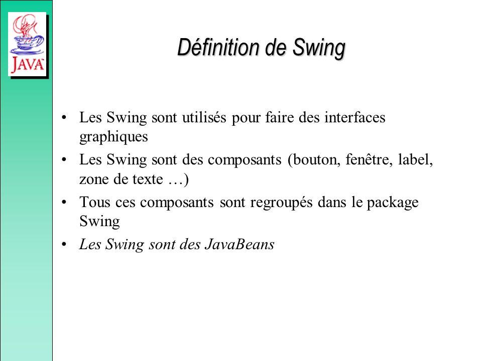 Définition de Swing Les Swing sont utilisés pour faire des interfaces graphiques.
