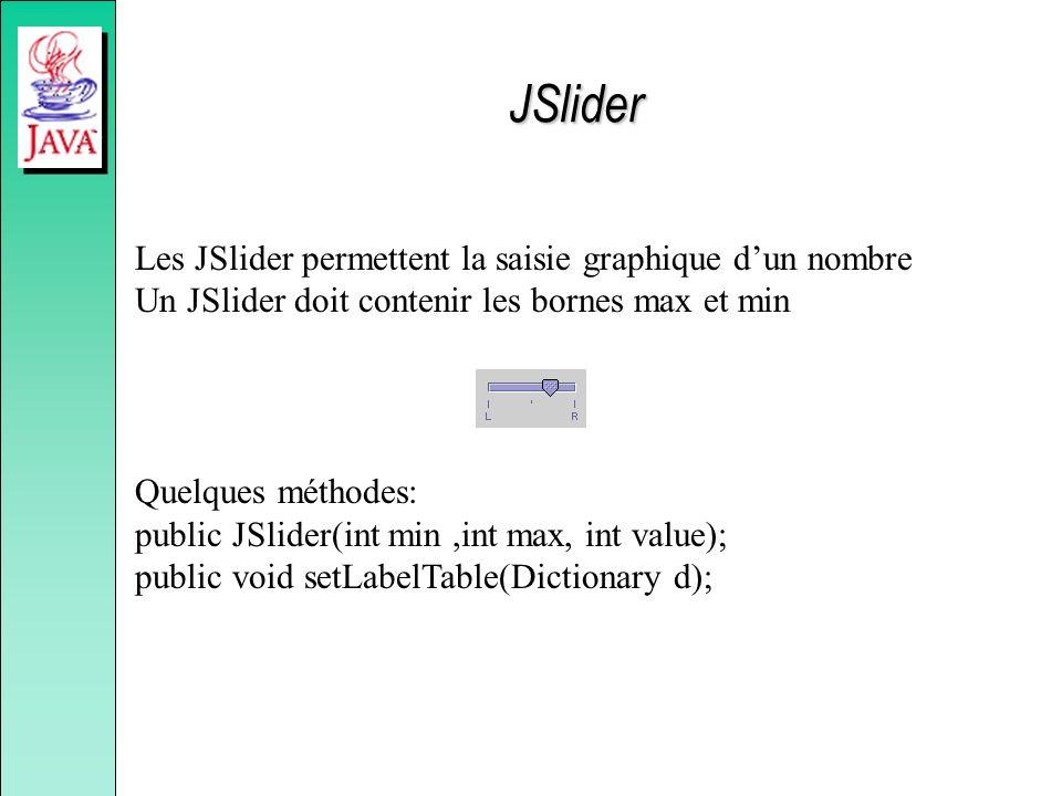 JSlider Les JSlider permettent la saisie graphique d'un nombre Un JSlider doit contenir les bornes max et min.