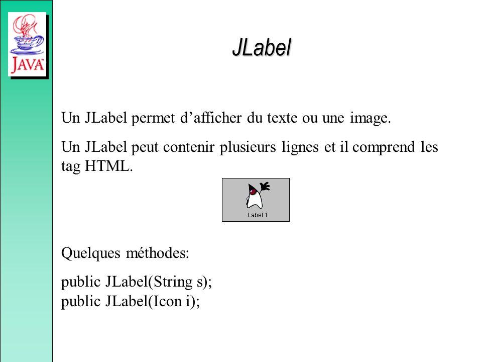 JLabel Un JLabel permet d'afficher du texte ou une image.