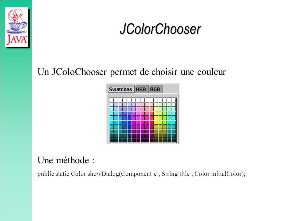 JColorChooser Un JColoChooser permet de choisir une couleur