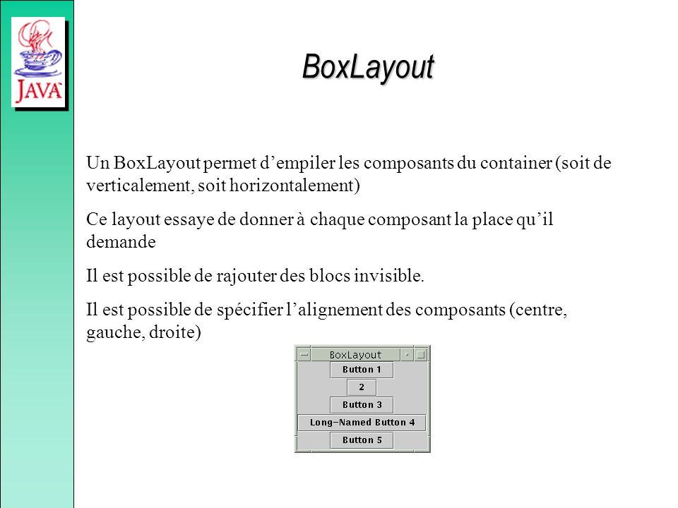 BoxLayout Un BoxLayout permet d'empiler les composants du container (soit de verticalement, soit horizontalement)