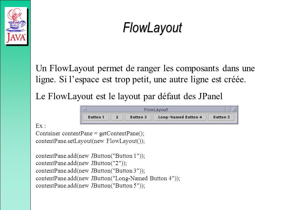 FlowLayout Un FlowLayout permet de ranger les composants dans une ligne. Si l'espace est trop petit, une autre ligne est créée.