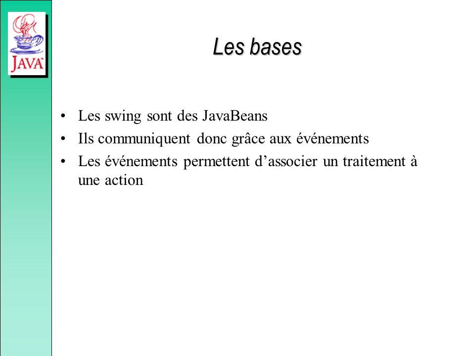 Les bases Les swing sont des JavaBeans