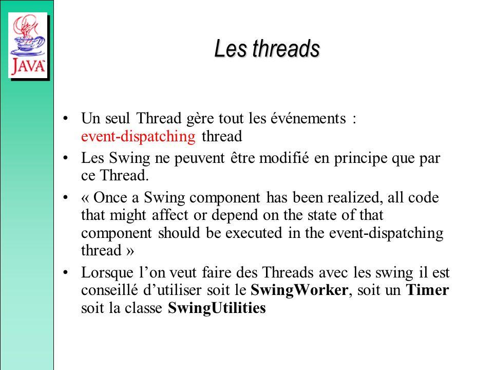 Les threads Un seul Thread gère tout les événements : event-dispatching thread. Les Swing ne peuvent être modifié en principe que par ce Thread.