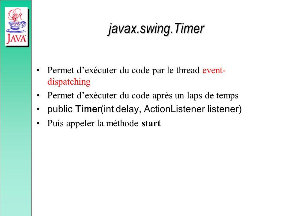 javax.swing.Timer Permet d'exécuter du code par le thread event-dispatching. Permet d'exécuter du code après un laps de temps.