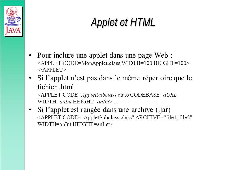 Applet et HTML Pour inclure une applet dans une page Web : <APPLET CODE=MonApplet.class WIDTH=100 HEIGHT=100> </APPLET>