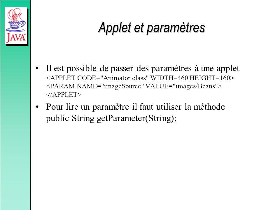 Applet et paramètres