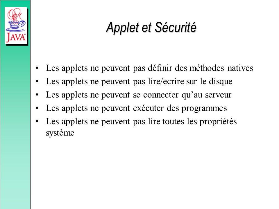 Applet et Sécurité Les applets ne peuvent pas définir des méthodes natives. Les applets ne peuvent pas lire/ecrire sur le disque.