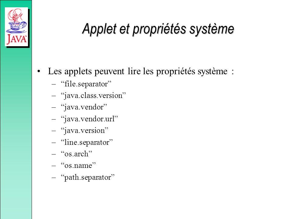 Applet et propriétés système