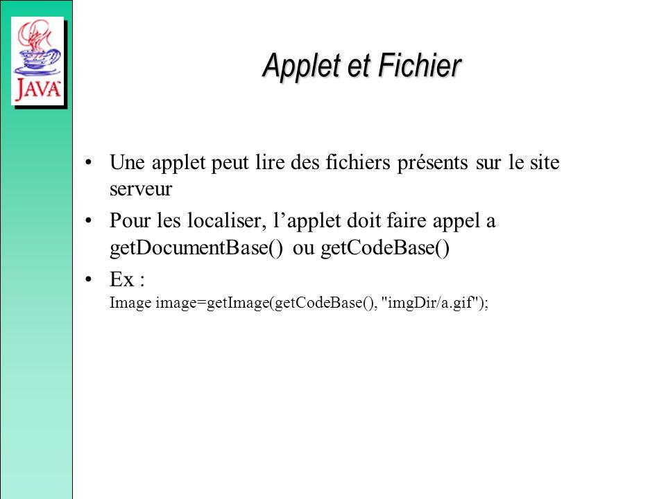 Applet et Fichier Une applet peut lire des fichiers présents sur le site serveur.