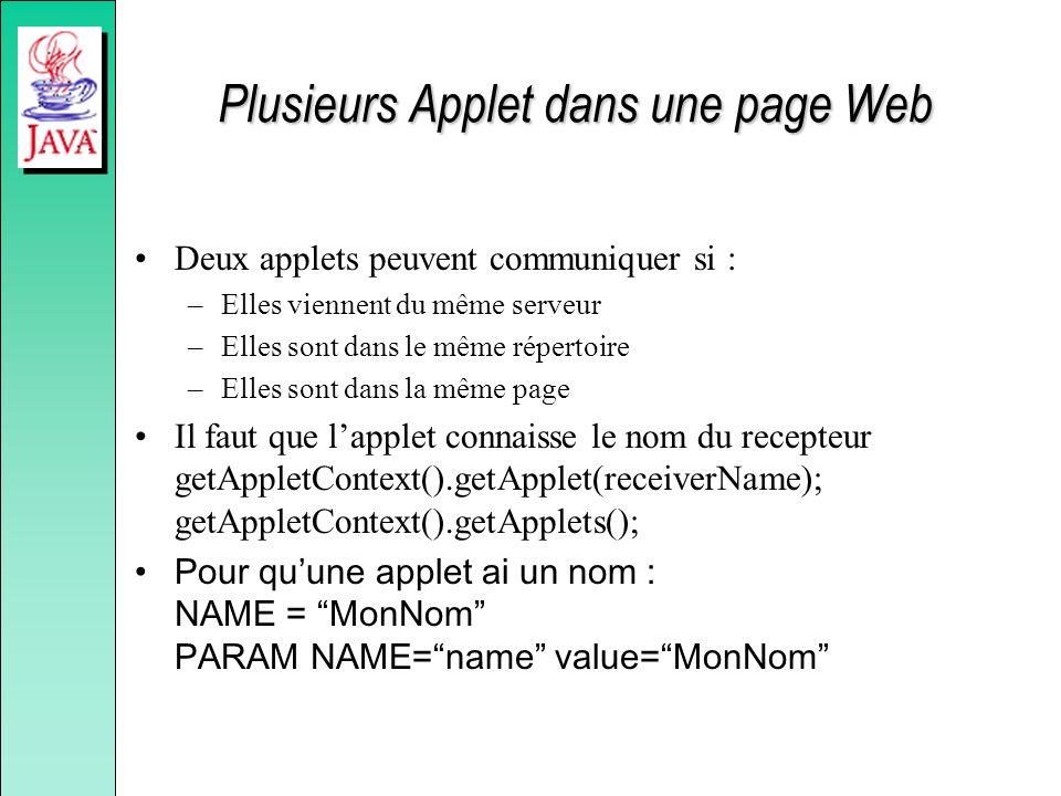 Plusieurs Applet dans une page Web