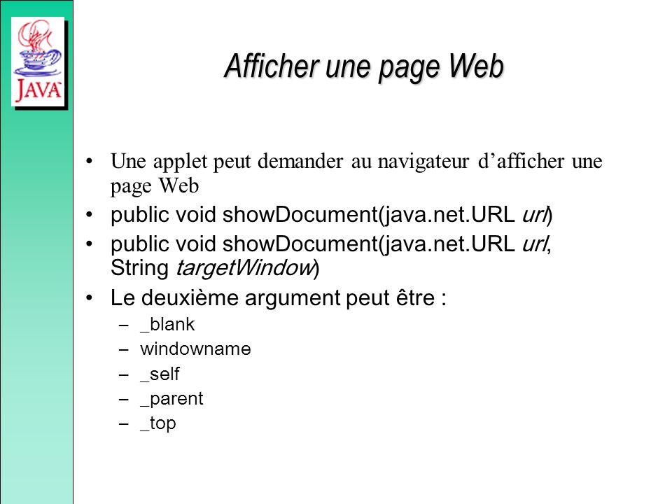 Afficher une page Web Une applet peut demander au navigateur d'afficher une page Web. public void showDocument(java.net.URL url)
