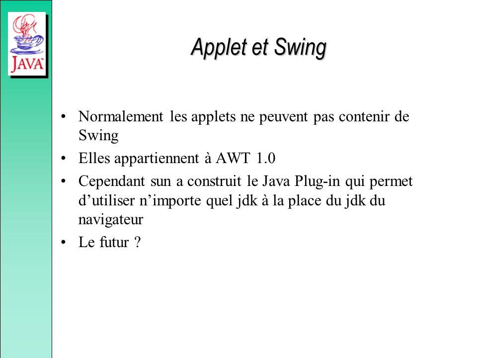 Applet et Swing Normalement les applets ne peuvent pas contenir de Swing. Elles appartiennent à AWT 1.0.