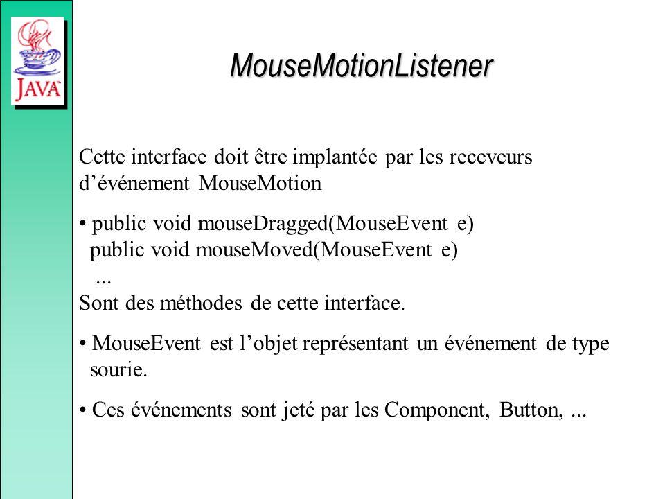 MouseMotionListener Cette interface doit être implantée par les receveurs d'événement MouseMotion.
