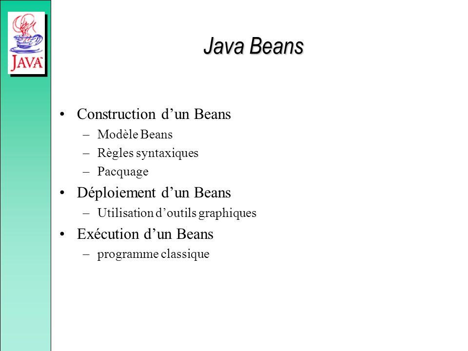 Java Beans Construction d'un Beans Déploiement d'un Beans