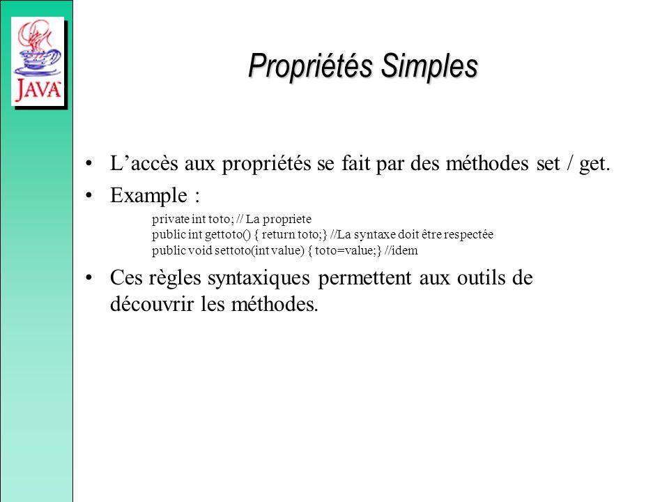 Propriétés Simples L'accès aux propriétés se fait par des méthodes set / get. Example :